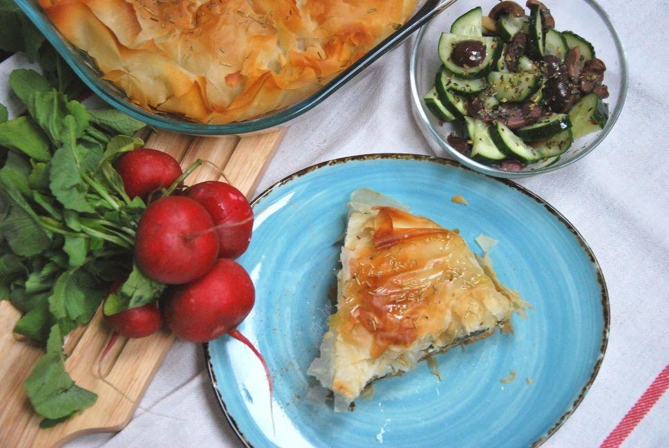 Plăcintă cu spanac și trei tipuri de brânză